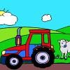 Tractor and Cow Coloring